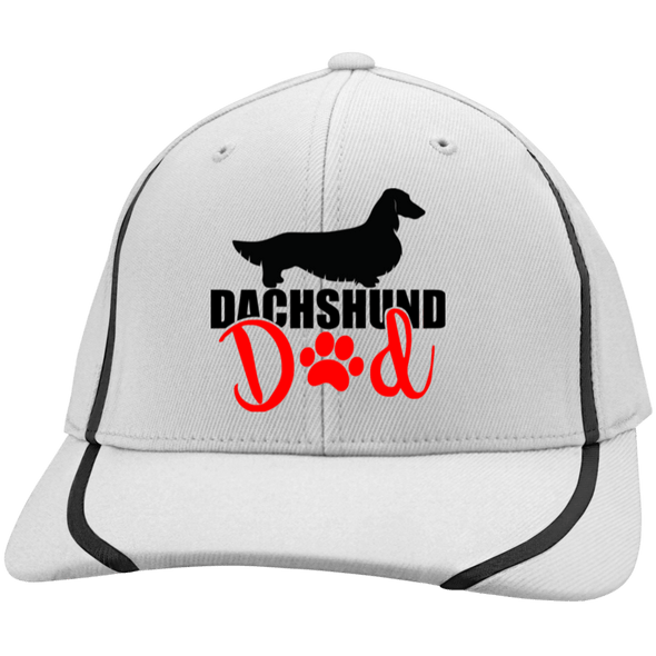 Dachshund Dad Longhair (Red) Embroidered Flexfit Colorblock Cap