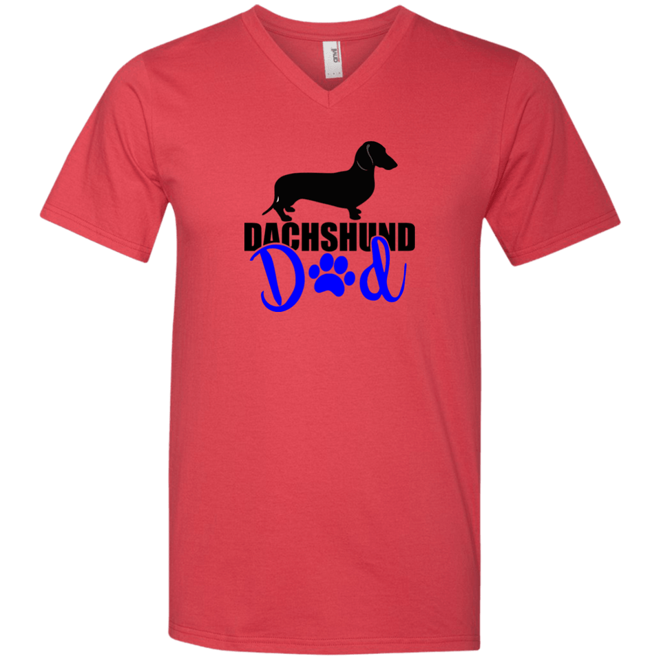 Dachshund Dad Shorthair (Blue) Men's V-Neck T-Shirt
