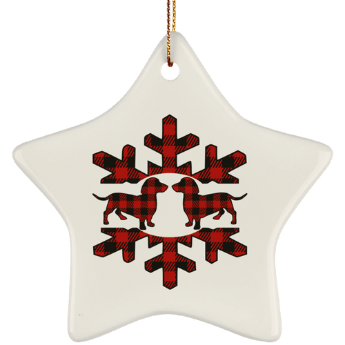 Plaid Snowflake Dachshunds Ceramic Star Ornament