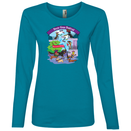 Doxie Gras Festival Ladies' Lightweight LS T-Shirt