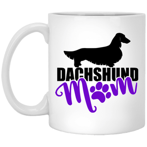 Dachshund Mom Longhair (purple) 11 oz. Ceramic Mug