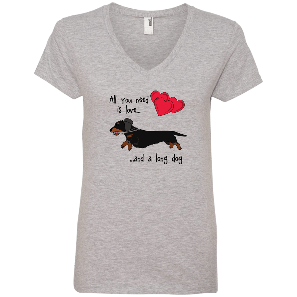 All You Need Is Love WH (B&T) Ladies' V-Neck T-Shirt
