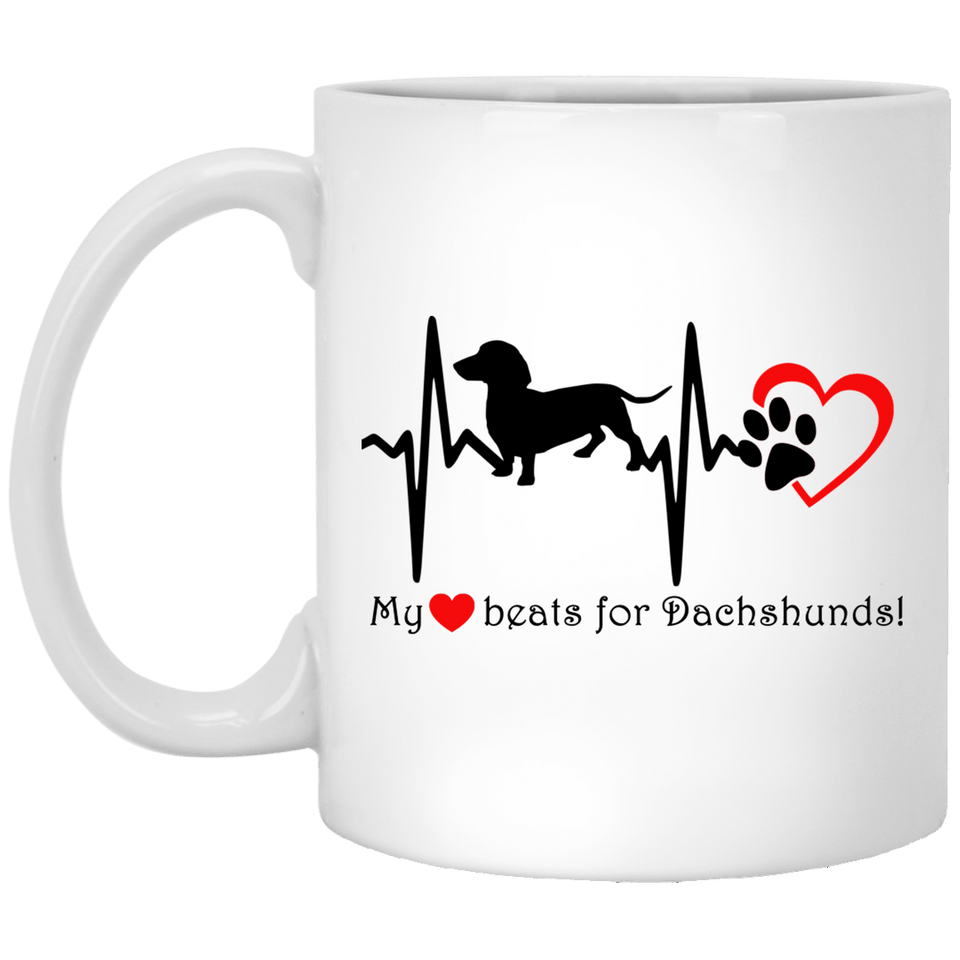 My Heart Beats For Dachshunds 11 oz. Ceramic Mug