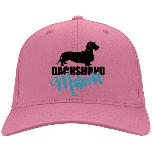 Dachshund Mom Wirehair (Teal) Embroidered Flex Fit Twill Baseball Cap