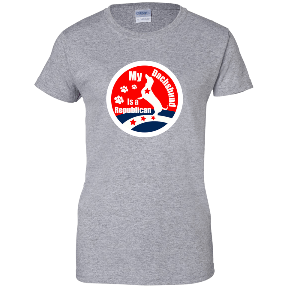 My Dachshund Is A Republican Ladies' 100% Cotton T-Shirt