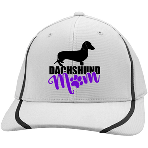Dachshund Mom Shorthair (Purple) Embroidered Flexfit Colorblock Cap