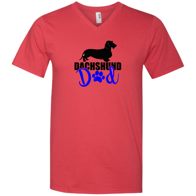 Dachshund Dad Wirehair (Blue) Men's V-Neck T-Shirt