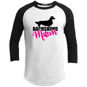 Dachshund Mom Longhair (Pink) 100% Cotton Baseball Jersey