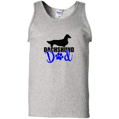 Dachshund Dad Longhair (Blue) 100% Cotton Tank Top