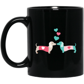 Kissing Doxies 11 oz. Black Ceramic Mug