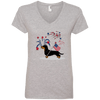 Patriotic Wirehair B&T Ladies' V-Neck T-Shirt