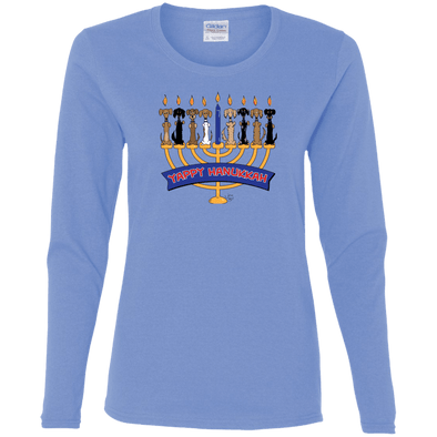 Yappy Hanukkah Ladies' Cotton LS T-Shirt