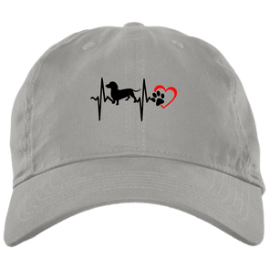 Dachshund Heartbeat Brushed Twill Unstructured Cap