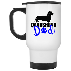 Dachshund Dad Wirehair (Blue) 14 oz. Stainless Steel Travel Mug
