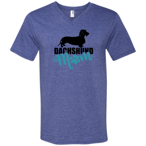 Dachshund Mom Wirehair (Teal) V-Neck T-Shirt