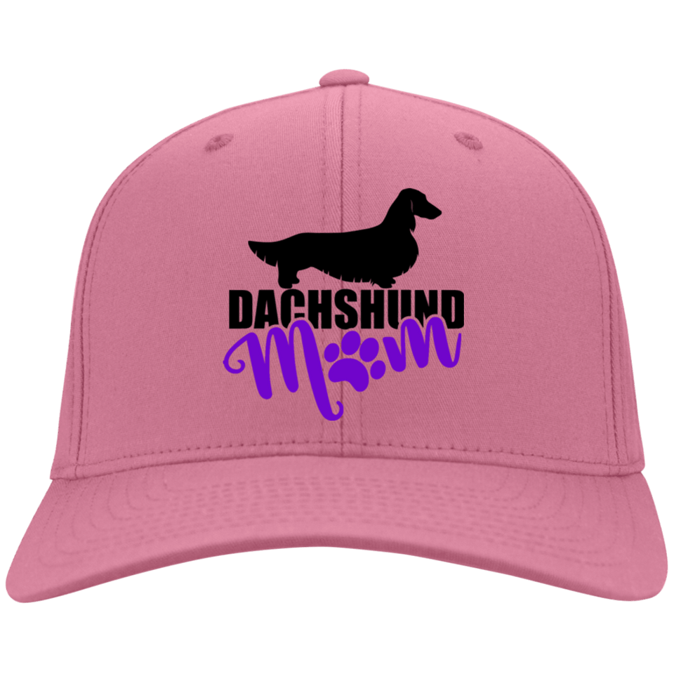 Dachshund Mom Longhair (Purple) Embroidered Flex Fit Twill Baseball Cap
