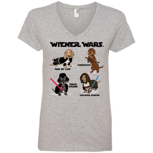 Wiener Wars Cast Ladies' 100% Ringspun Cotton V-Neck T-Shirt