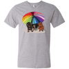 Rainbow Umbrella Dachs Anvil Men's V-Neck T-Shirt