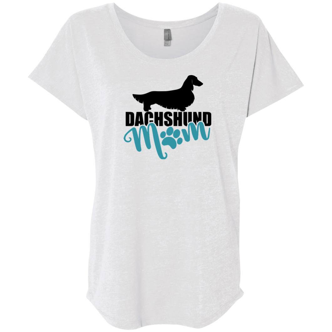 Dachshund Mom Longhair (Teal) l Ladies' Triblend Dolman Sleeve