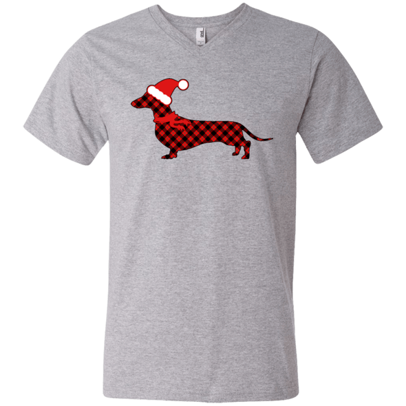 Red Plaid Santa Doxie Men's V-Neck T-Shirt