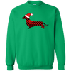 Red Plaid Santa Doxie Crewneck Pullover Sweatshirt