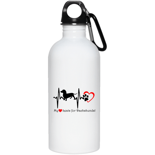 My Heart Beats For Dachshunds 20 oz. Stainless Steel Water Bottle