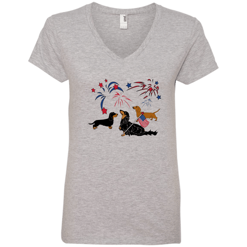 Patriotic Dachshunds Ladies' V-Neck T-Shirt