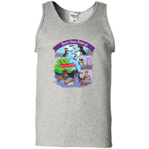 Doxie Gras Festival Unisex 100% Cotton Tank Top