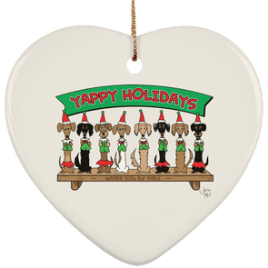 Wiener Dog Elf Shelf Ceramic Heart Ornament