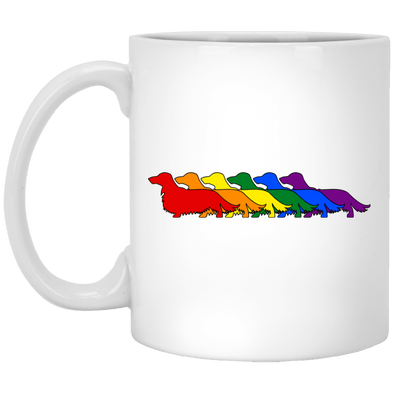 Rainbow Pride Longhair Dachshunds 11 oz. White Ceramic Mug