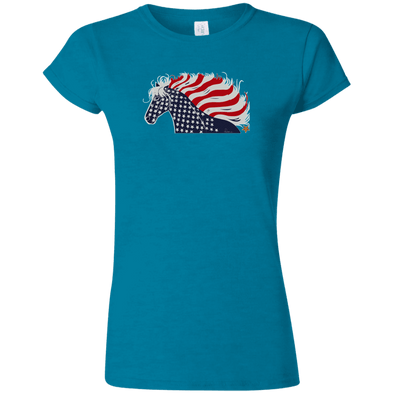 USA Flag Patriotic Horse Softstyle Ladies' T-Shirt