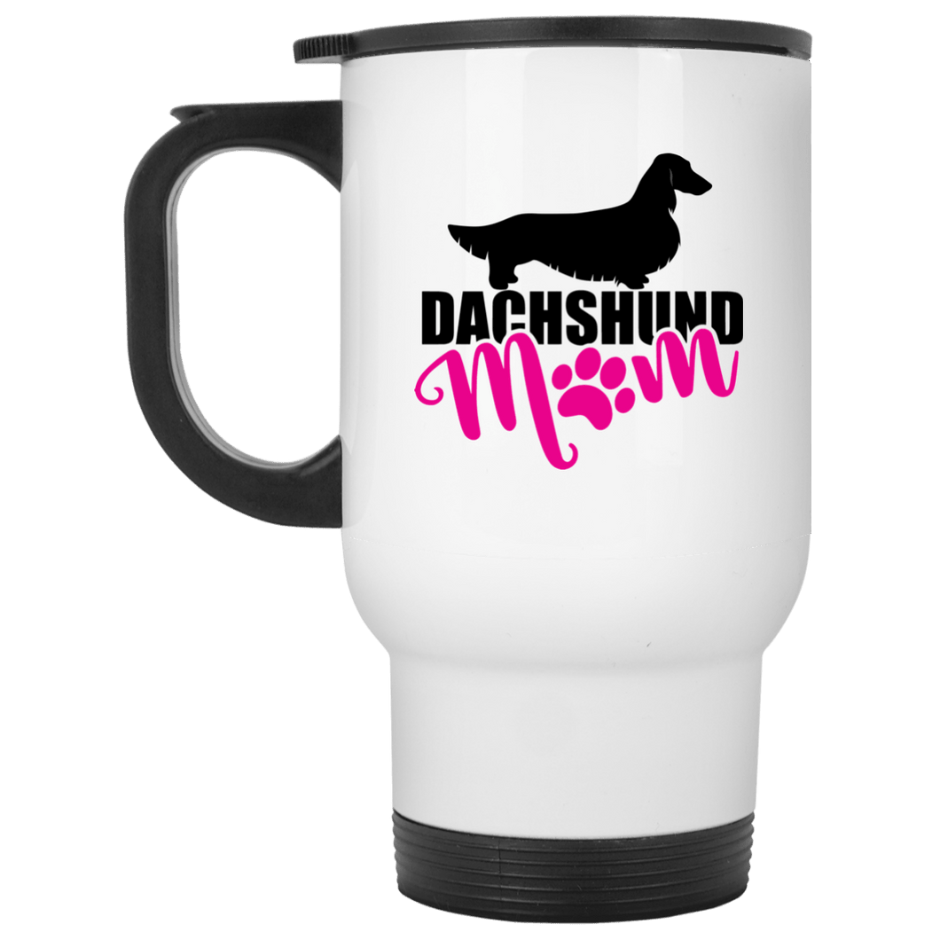Dachshund Mom Longhair (Pink) 14 oz. Stainless Steel Travel Mug
