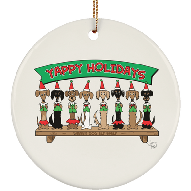 Wiener Dog Elf Shelf Ceramic Circle Ornament