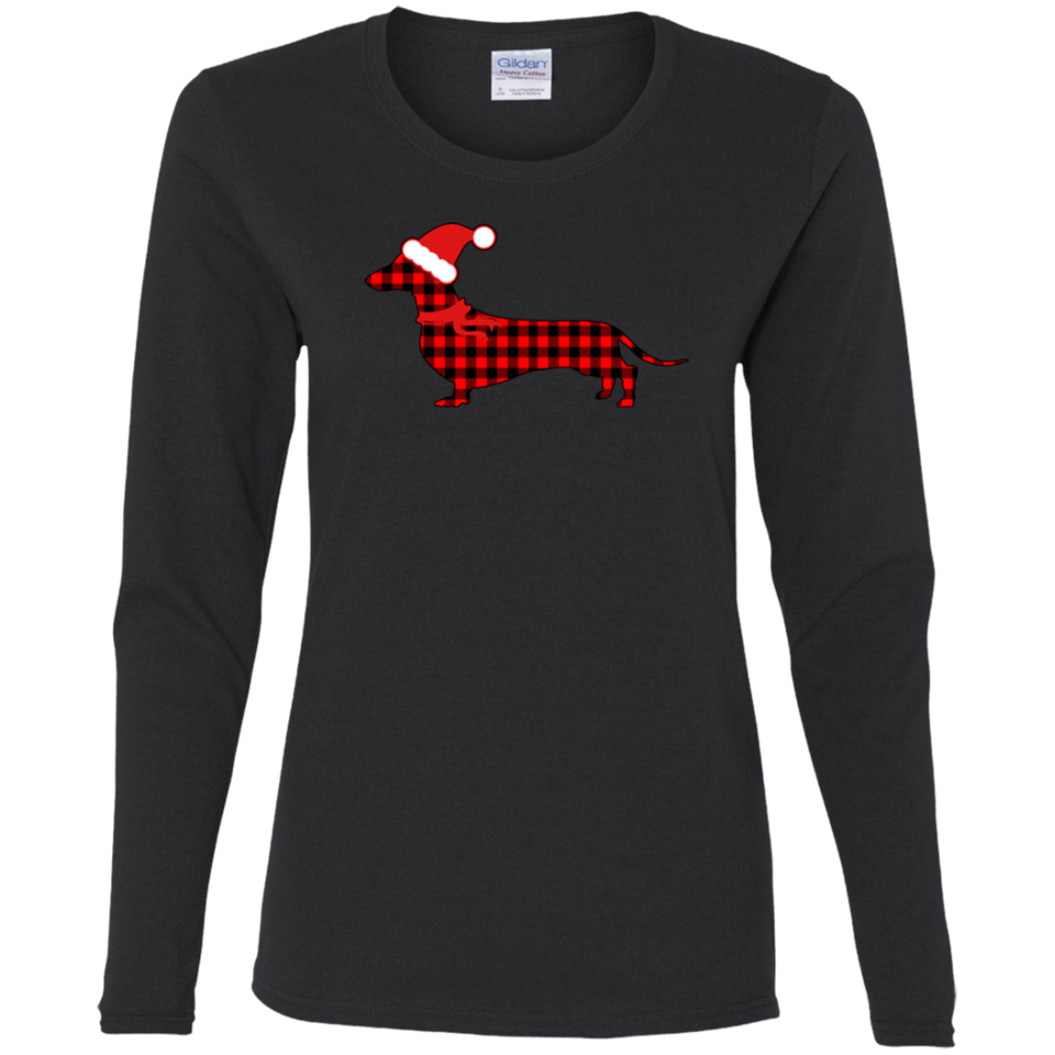 Buffalo Red Plaid Santa Doxie Ladies' Cotton LS T-Shirt