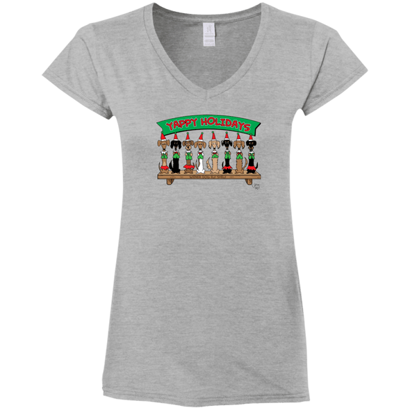 Wiener Dog Elf Shelf Ladies' Fitted Softstyle V-Neck T-Shirt
