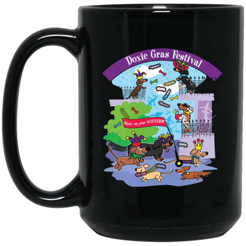 Doxie Gras Festival 15 oz. Black Ceramic Mug