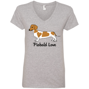 Piebald Love (Red) Ladies' 100% Ringspun Cotton V-Neck T-Shirt