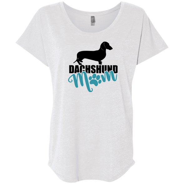 Dachshund Mom Shorthair (Teal) Ladies' Triblend Dolman Sleeve