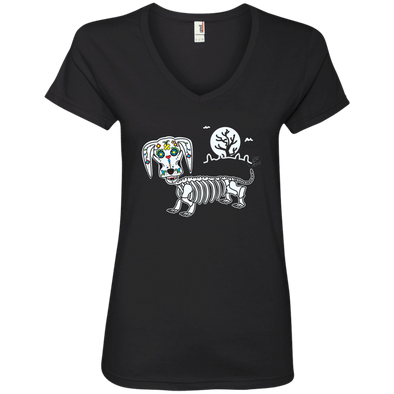 Mr. Bones Sugar Skull Ladies' V-Neck T-Shirt