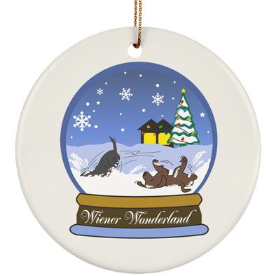 Snow Globe Christmas Ceramic Circle Ornament