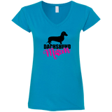Dachshund Mom Shorthair (Pink) Ladies' Fitted Softstyle V-Neck T-Shirt