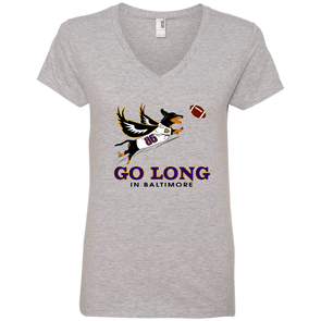 Go Long in Baltimore  Ladies' V-Neck T-Shirt