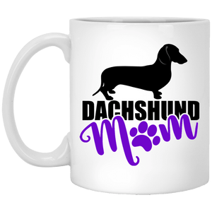 Dachshund Mom Shorthair (purple) 11 oz. Ceramic Mug