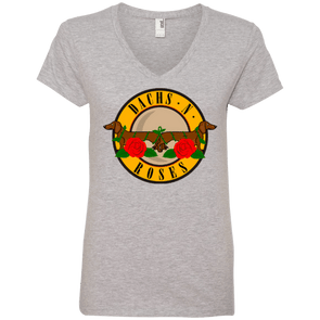 Dachs N Roses 100% Ringspun Cotton Ladies' V-Neck T-Shirt
