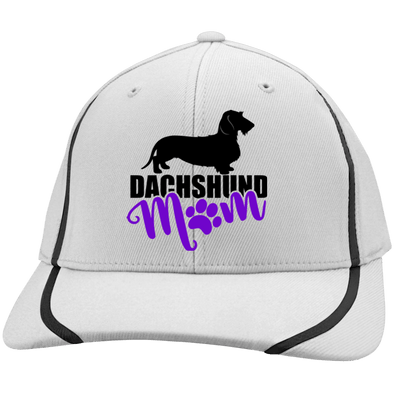 Dachshund Mom Wirehair (Purple) Embroidered Flexfit Colorblock Cap