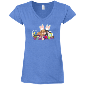 Easter Dachshunds Ladies' Fitted Softstyle V-Neck T-Shirt