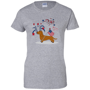 Patriotic Wirehair Red Ladies' 100% Cotton T-Shirt