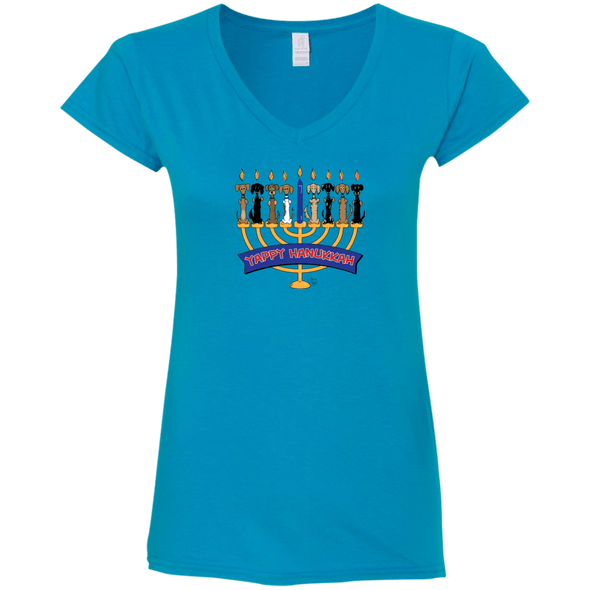 Yappy Hanukkah Ladies' Fitted Softstyle V-Neck T-Shirt
