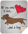 All You Need Is Love WH (Red) Fleece Sherpa Blanket - 50x60
