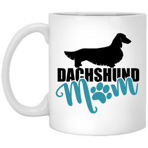 Dachshund Mom Longhair (teal) 11 oz. Ceramic Mug